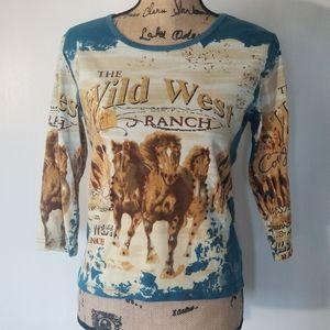 BIT & BRIDLE The Wild West Ranch 3/4 Tshirt Sz M